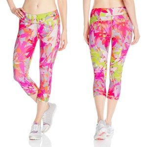 Trina Turk Neon Orchid Print Cropped Leggings